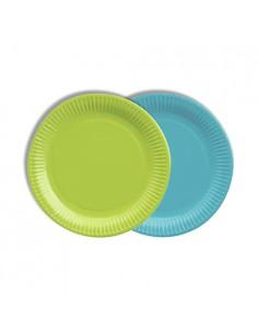 Platos cartón redondos colores turquesa y verde 100% compostables Ø 18 cm