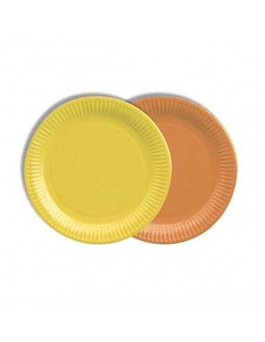 Platos cartón redondos colores naranja y amarillo 100% compostables Ø 18 cm