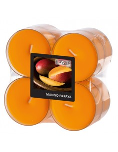 Velas lamparilla perfumadas mango-papaya color naranja maxi Ø 59 x 24mm
