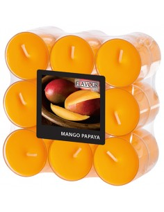 Velas lamparilla perfumadas mango papaya color naranja maxi Ø 38 x 24mm