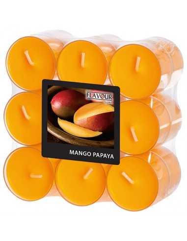Velas lamparilla perfumadas mango papaya color naranja maxi Ø 38 x 24mm
