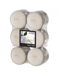 Velas lamparilla perfumadas lino fresco color blanco maxi Ø 58 x 24mm