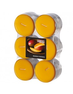 Velas lamparilla maxi perfumadas mango papaya color naranja Ø 58 x 24mm