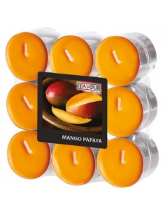 Velas lamparilla perfumadas mango papaya color naranja Ø 37,5 x 16,6mm