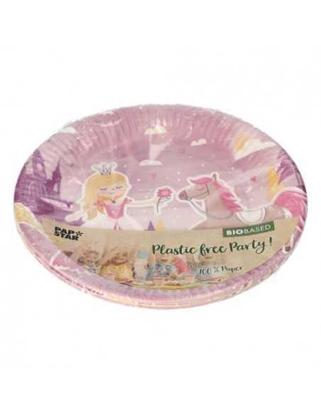 Platos cartón fiestas infantiles Princesa compostables Ø 23 cm
