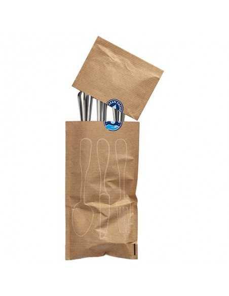 Fundas cubiertos papel kraft natural con cierre autoadhesivo