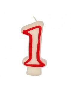Velas cumpleaños número 1 color blanco borde rojo pastelerías 7,3 cm