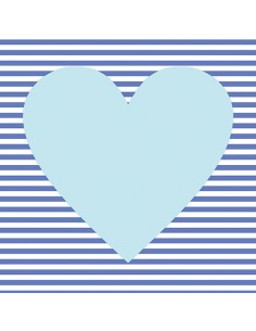 Servilletas de papel decoradas corazón azul 33 X 33 cm