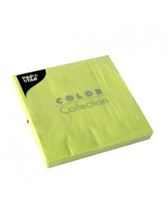Servilletas de papel verde limón económicas 33 x 33cm
