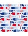 Servilletas de papel decoradas peces rojo azul 33 x 33 cm
