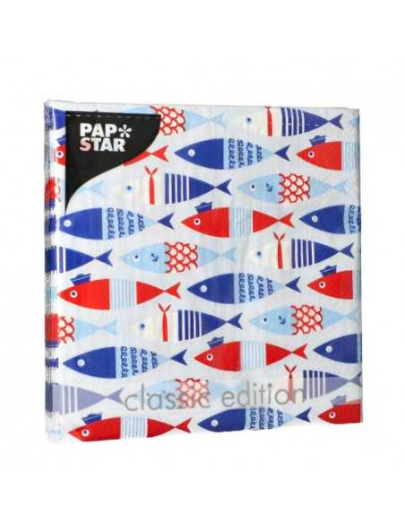 Servilletas de papel decoradas peces rojo azul 33 x 33 cm