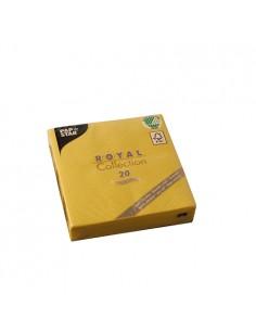 Servilletas papel aspecto tela Royal Collection color amarillo 25 x 25cm