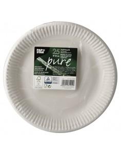 Platos de cartón redondos fibra fresca color blanco Pure Ø 23cm