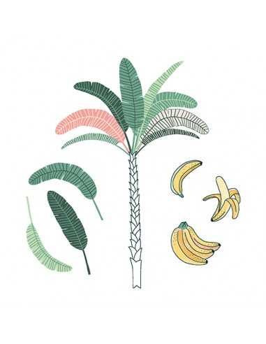 Servilletas de papel decoradas palmera bananas 33 x 33 cm