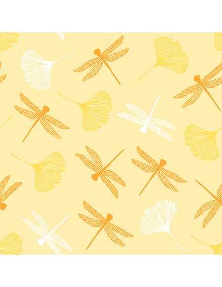 Servilletas de papel decoradas libélulas amarillo 40 x 40 cm