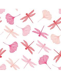 Servilletas de papel decoradas libélulas rosa 40 x 40 cm