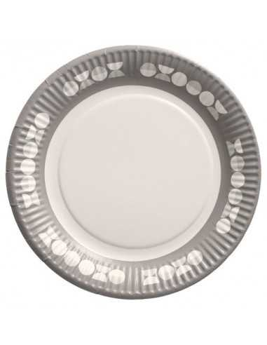 Platos cartón decorados fiestas 100% compostables gris blanco Ø 23 cm Pastilles