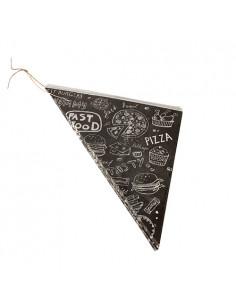 Bolsas de papel antigrasa cónicas decoradas fast food negro125 gr