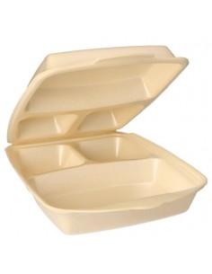 Envases con tapa bisagra menús para llevar color beig 3 comp.