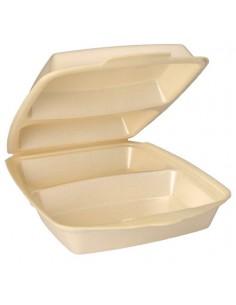 Envases con tapa bisagra para menús laminado beige 2 Comp.