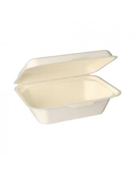 Envases para comida con tapa caña azúcar compostables 400ml Pure