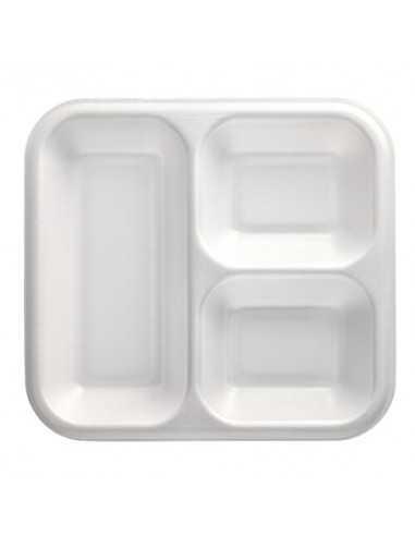 Bandejas para menú termosellables blancas 3 compartimentos XPS 1350ml