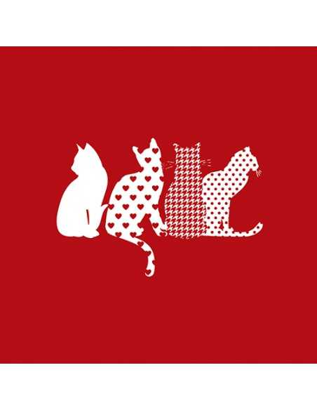 Servilletas de papel decoradas gatos color rojo 33 x 33 cm