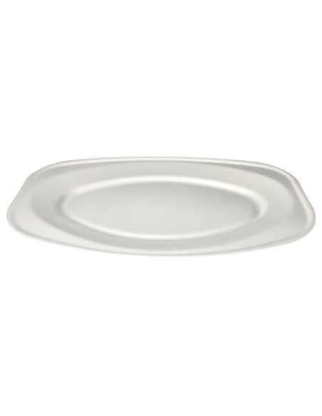 Bandejas servicio comida color blanco de XPS laminado ovales