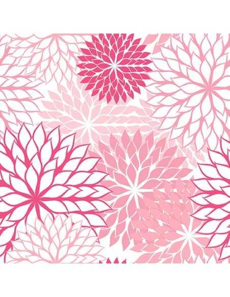 Servilletas de papel decoradas flores rosa 40 x 40 cm