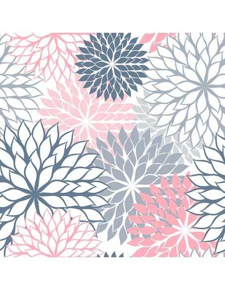 Servilletas de papel decoradas flores gris rosa 40 x 40 cm