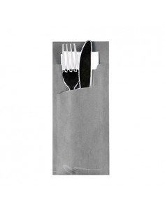 Fundas papel para cubiertos color gris incluye servilleta