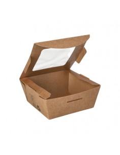 Cajas cartón ventana bioplástico color marrón ensalada 350ml Pure