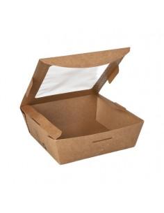 Cajas cartón tapa ventana bioplástico PLA color marrón ensalada 650 ml Pure