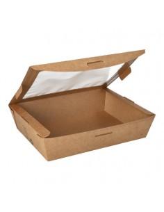 Boîtes carton avec fenêtre PLA couleur marron 1000 ml Pure