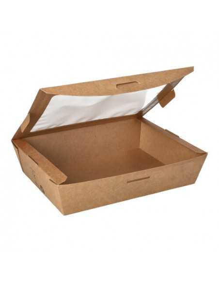 Cajas cartón tapa ventana bioplástico PLA color marrón ensalada 1000 ml Pure