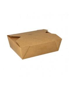 Cajas comida para llevar cartón marrón con tapa integrada 1000ml Pure