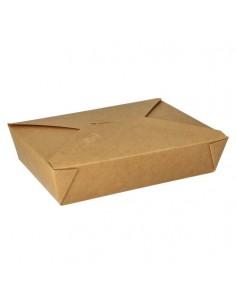 Cajas comida para llevar cartón marrón con tapa integrada 1500ml Pure