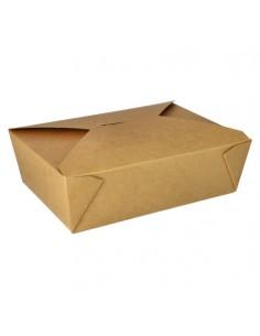 Cajas comida para llevar cartón con PLA marrón con tapa integrada 2000ml
