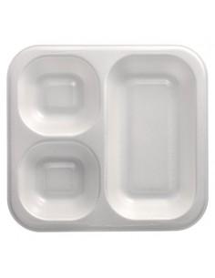 Bandejas para menú termosellables blancas 3 compartimentos XPS 1150ml