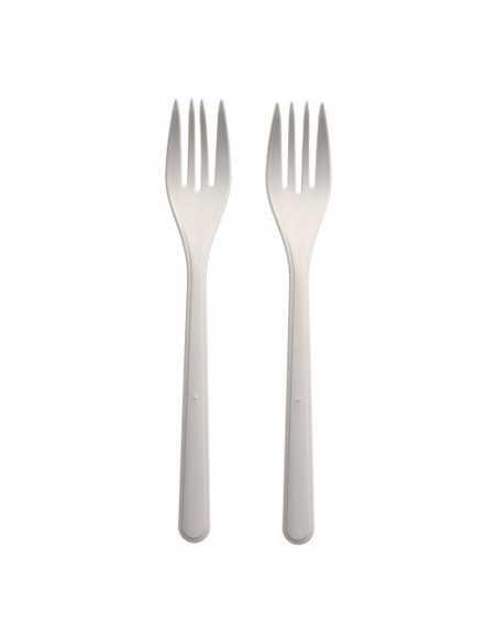 Tenedores reutilizables bioplástico color blanco 18,5 cm