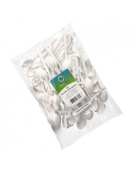 Cucharillas postre reutilizables bioplástico color blanco 13 cm