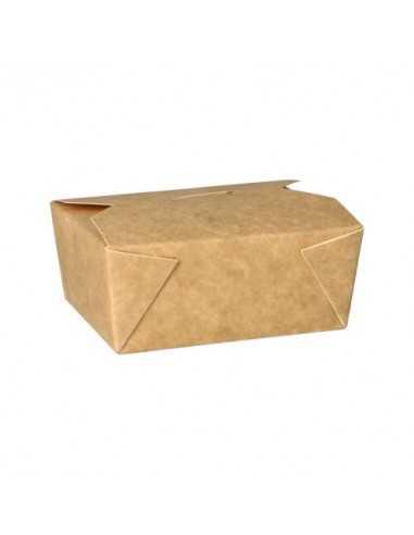 Cajas comida para llevar cartón marrón con tapa integrada 500ml