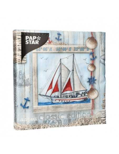 Servilletas de papel decoradas barco tonos color azul 33 x 33 cm