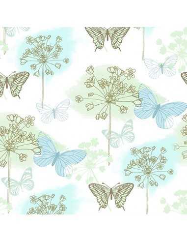 Servilletas de papel decoradas mariposas color azul 33 x 33 cm