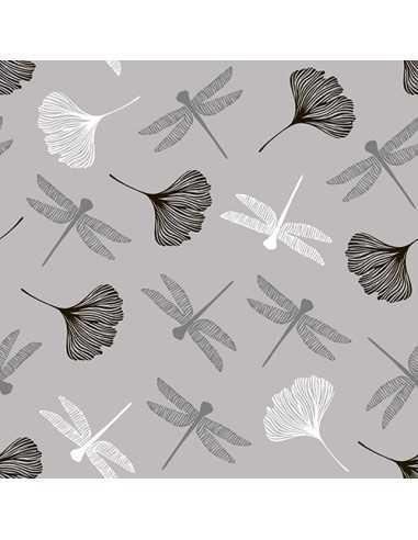 Servilletas de papel decoradas libélulas gris 40 x 40 cm