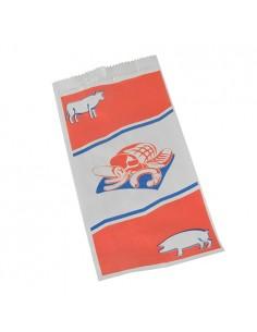 Bolsas para carnicería papel kraft decorado 28 x 14 x 6 cm