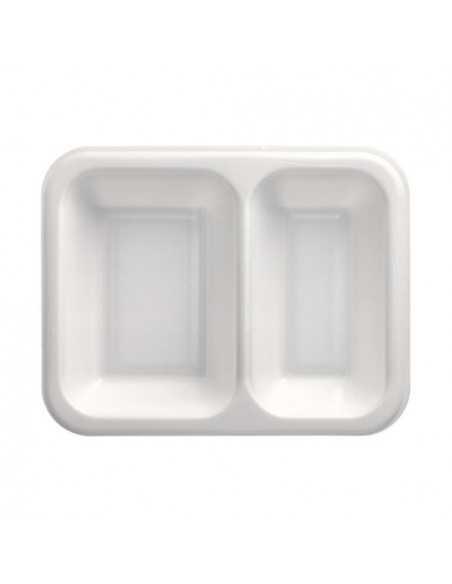 Bandejas menú termosellables blancas 2 compartimentos XPS