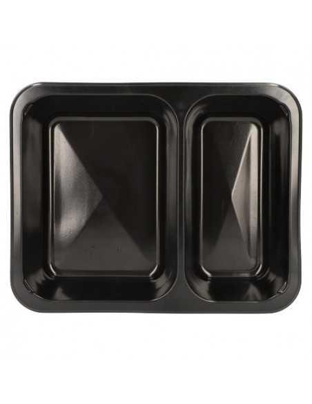 Envases comida para llevar plástico negro 2 compartimentos 1205 ml