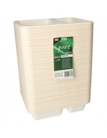 Bandejas take away menú caña azúcar blanco 2 compartimentos 950 ml Pure