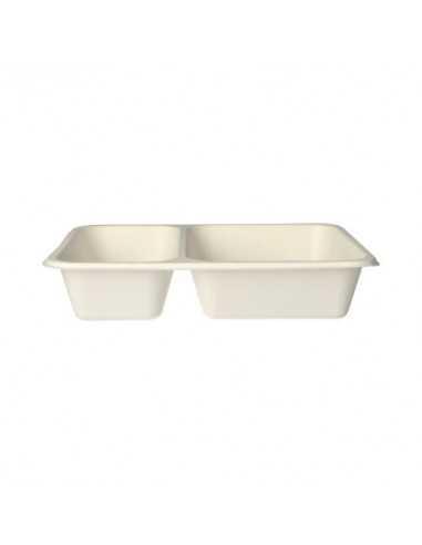 Bandejas termosellables envasado menús caña azúcar blanco 2 compartimentos Pure